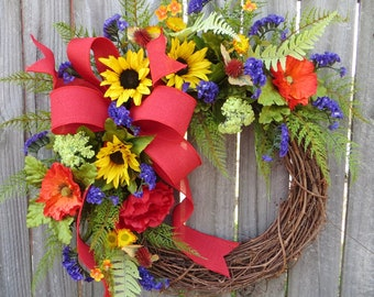 Wreath, Spring / Summer Wreath, Spring, Spring Wildflower Wreath, Door Wreath,Housewarming Gift ,Summer Wreath, Red Yellow Purple, Horn's