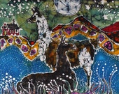 Hills Alive with Llamas - art fabric  from original batik - quilting applique