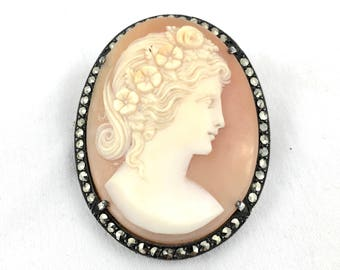 Victorian Sterling Silver & Marcasite Hand carved shell Cameo Brooch Pendant