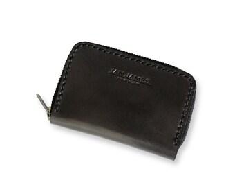 Black Leather Zip Around Wallet Cardholder