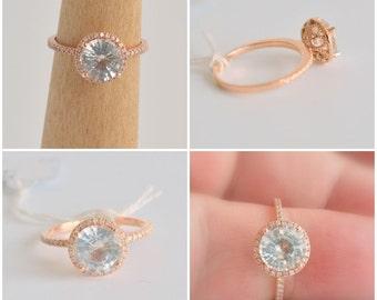 1.91 carat white sapphire, Rose gold, diamonds halo engagement ring  JOAN-812W