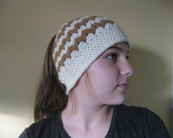 Pony tail crochet hat, messy bun  hat