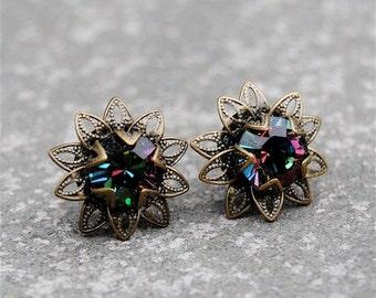 SALE Dark Rainbow Floral Earrings Swarovski Crystal Rainbow Earrings Vintage Saffron Sparklers Mashugana