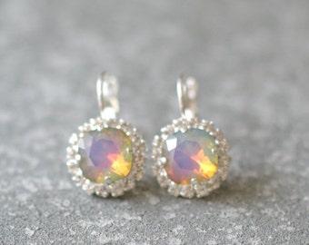 SALE Opal Rainbow Earrings Swarovksi Crystal Raibow Diamond Rhinestone Tennis Style Leverback Drop Earrings
