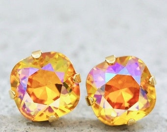 Lemon Rainbow Stud Earrings Swarovski Crystal Pineapple Studs Aurora Borealis Northern Lights Canary Diamond Gold Cushion Stud Earrings Sun