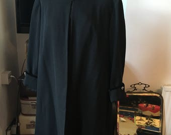 1940s Original Black Gabardine Swing Jacket M/L