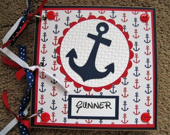 Nautical Themed Guest Book - Baby Boy - Baby Shower - Red and Navy