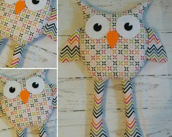 Ready to Ship,  Handmade Fabric Owl Doll,  Owl Softie Plushie, Birthday Gift, Child's Room Decor, Nursery, Baby Shower, Pillow, Unisex Toy