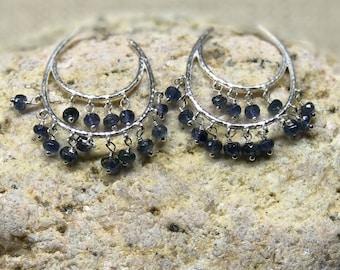 Tiered sapphire sterling silver earrings !