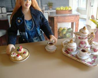Dollhouse Miniature Tea Set With Cookie Plate