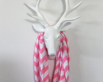 Infinity Scarf - Bubblegum Pink & White Chevron - Cotton Jersey Knit