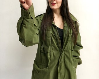 Vintage Army Coat 70s Army Jacket Olive Green