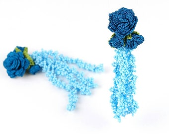RESERVED FOR J Tassel Earrings- Handmade Glass Seed Beaded Rose Flower Crochet Lace Tassel Clip on Statement Bohemian Unique Gifts Textile