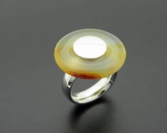 Big agate silver ring, pi stone ring, semi precious stone ring, statement agate silver ring
