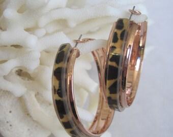 """Rose Gold Leopard Print Inset 1-3/4"""" Diameter Hoop Earrings"""