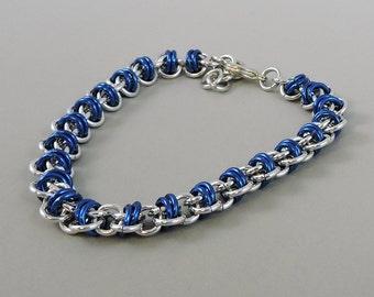 Dark Blue Chainmaille Bracelet, Barrel Weave Chainmail Bracelet, Chain Mail Jewelry, Blue Bracelet
