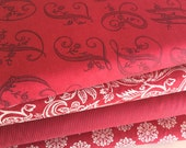 Madame Rouge Fabric Bundle of Five Different NEW Fabrics, from French General of Moda Fabrics, Deep Reds