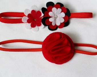 Red Headbands - Set of 2 Red Headbands - Baby Headband - Headband for Babies and Toddlers - Red Felt Flower - Baby Hairband