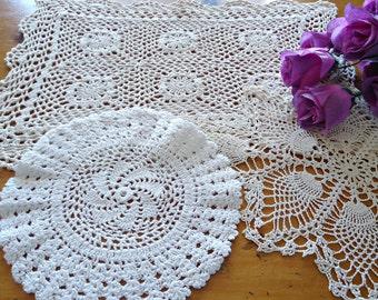 3 Doilies Doily Crocheted Doily Ecru Vintage Doilies  E3