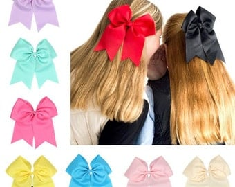 Cheer bows, cheerleading bows, white cheer bows, big hair bows, girl cheer bows, bows for pony tails, sport bows gor girls, elastic bands
