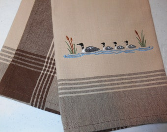 Loon Kitchen Towel, Common Loon Embroidered Towel, Loon Family, Brown and Beige Cotton Towel, Kitchen Linens, Country Kitchen Towel,