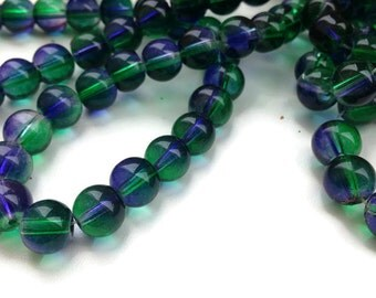 50 Round Glass Beads, Blue Green Glass Beads, 8mm Round Glass Beads G 50 034