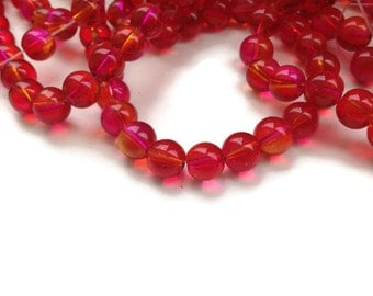 8mm Transparent Red Glass Beads, 50 Red Orange Pink Round Glass Beads G 50 032