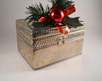 Silver Toned Vintage Trinket Box with Handle Red velvet Keepsake