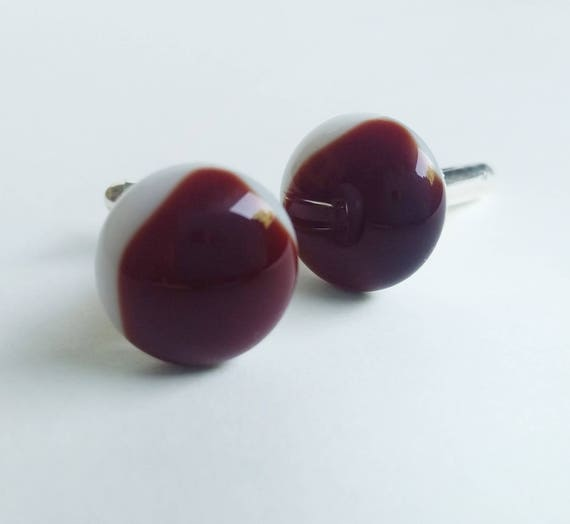 Garnet on White Glass Cufflinks