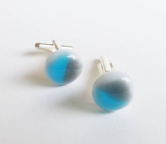 Blue and Gray Glass Cufflinks