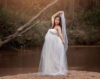 Stephanie   gown/Tulle maternity Gown, Tulle dress, Tulle prom dress, Tulle long dress