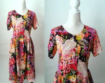 Vintage Dress, Vintage Floral Dress, 1980s Floral Dress, Prairie Style Dress, Cotton Floral Dress, 80s Flower Dress, Boho Floral Dress