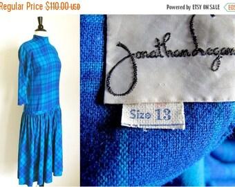On sale Vintage 50s Wool Dress, Blue Plaid Dress, Drop Waist Dress,  Blue Dress, by Jonathan Logan