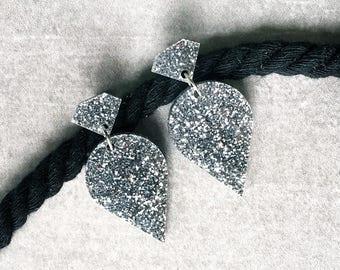 Laser cut acrylic earrings - Silver fine glitter - Acrylic glitter drop earrings - 'Queen Jewels' - Hypoallergenic - Made in Australia