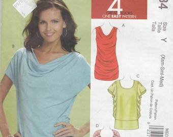 Cowl Shawl Neck Tops  - Short Sleeveless or Sleeveless -  Women's Size 4-14 - UNCUT Sewing Pattern McCall's 6034