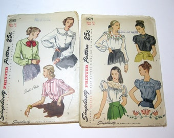 1940s Blouse Patterns: 2 Unused 40s Blouse Patterns, Simplicity 1671 and Simplicity 2381