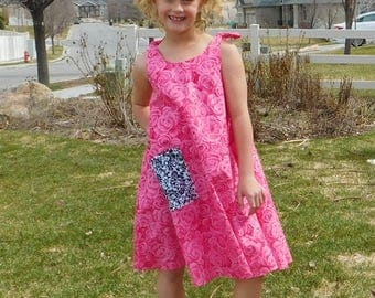 A pocket for my Beanie Boo Twirl summer dress - Gorgeous pink roses fabric sun dress, funky damask pocket, shoulder ties size baby tween