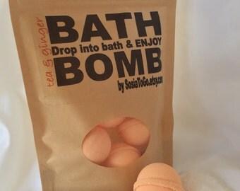Bath Bombs | Tea & Ginger Bath Bomb | Set of 6 Bath Bombs