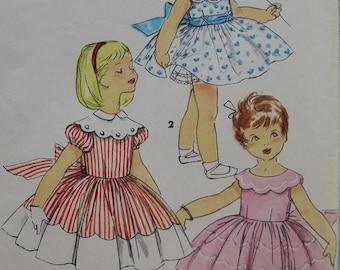 Fabulous Vintage 50s SCALLOPED COLLAR DRESS Girls' Pattern Factory Folded