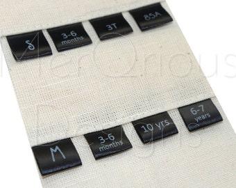 Custom Printed Sizes on Black Satin ribbon. Custom Sizing label. Ribbon 5/8'' (1.5 cm)