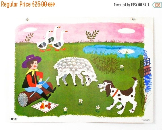 SALE Gorgeous french school print Daniel et Valerie A12 'in the pasture', wall print