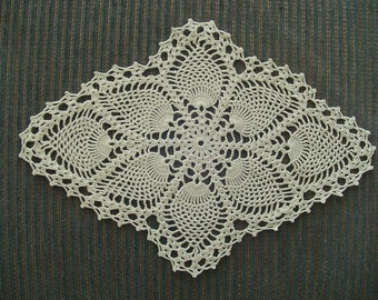 "Vintage Crocheted Pineapple Pattern Doily, Oval Doily, 15 1/2"" long x 11"" high, Vintage Doily, Crocheted Doily"