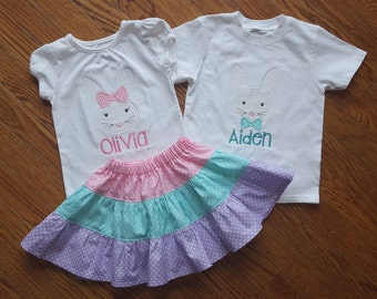Brother and Sister Easter Set - Girls Pastel Tiered Skirt with personalized Bunny Appliqued Shirts