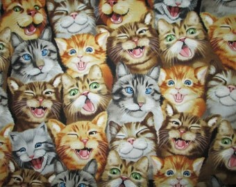 Selfies Kitty Realitic Cats Cotton Fabric Fat Quarter Or Custom Listing