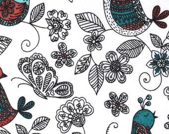 Bird Fabric -  Cotton Fabric - Minimalist Fabric - Sketch Fabric - Nursery Fabric - Baby Fabric -  White  Fabric - Quilting Fabric - By Yard