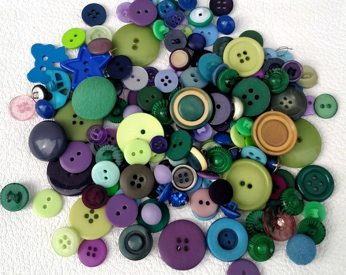 Lot of 160 Vintage Buttons in Green, Blue and Purple