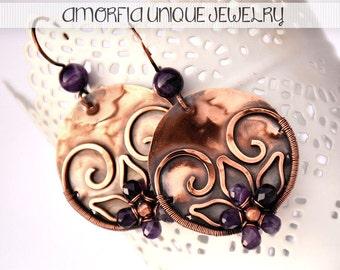 Purple amethyst flower earrings