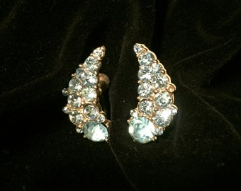 Vintage Aqua Blue Rhinestone Earrings