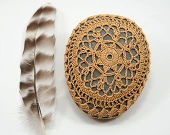 crochet stone, crochet rock, beach wedding, ring bearer pillow, fiber art object, autumn gold, camel, tabletop decor, home decor