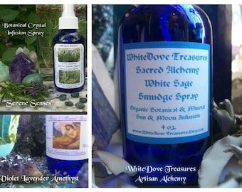 WHITE SAGE SMUDGE Spray 4oz-2oz Migraine Spray, Amethyst Lavender Organic Herb Essential Oil Crystal Infusion Clear Negative Aura Reiki Yoga